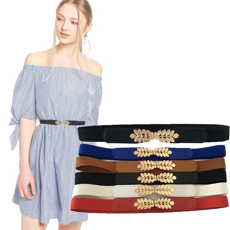 High Elasticity Fabric Belts For Women Dresses Gold Leaves Metal Buckle Belts Female Belts Women Fashion 2019 Hot Elastic Belts