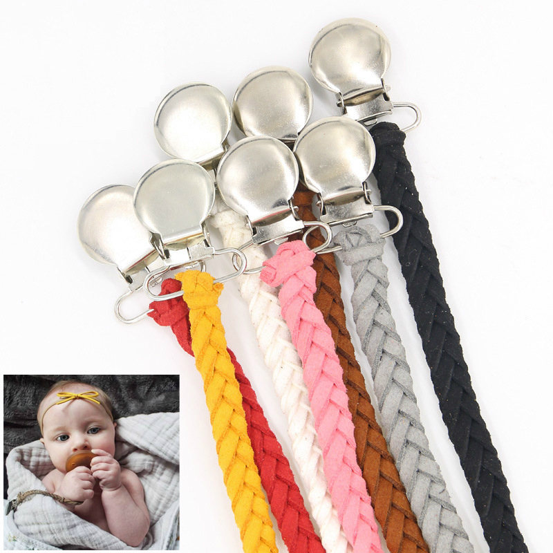 Infant Leather Silicone Pacifier Clips Chain Dummy Clip Pacifier Holder Nipple Soother Chain For Baby Infant Feeding Supplies