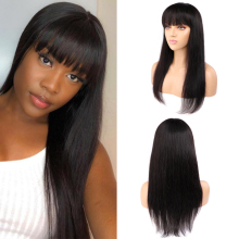 Straight Human Hair Wigs With Bangs Full Machine Made Wigs Natural Color Remy Hair No Lace Wig