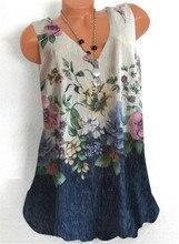 Fashion woman T-shirt Loose T-shirt woman Casual aunt sleeveless T-shirt Top