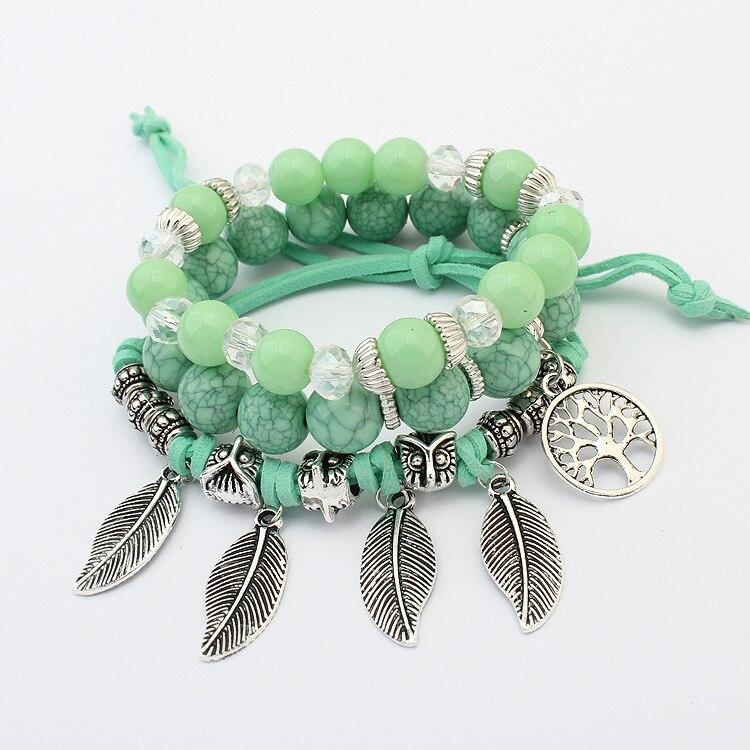 Nouveau rétro arbre de vie feuilles multi-couche bracelet élégant beaux bracelets de perles de verre
