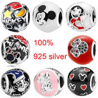 Enamel I Love Minnie & Mickey Hand Cartoon Mous Love Heart Beads Fit Pandora Bracelet 100% 925 Sterling Silver Charm DIY Jewelry