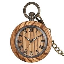 الرجعية زيبرا الخشب ساعة جيب كوارتز الأرقام الرومانية الطلب مضيئة إبرة ساعة خشبية ساعة فوب سلسلة مجوهرات هدايا للرجال النساء