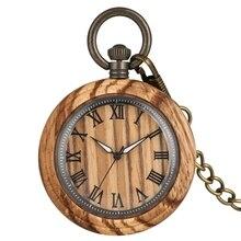 Relógio de bolso de madeira zebra, relógio retrô de quartzo, números romanos, indicador de agulha luminosa, relógio de madeira, corrente, joias para presentes mulheres