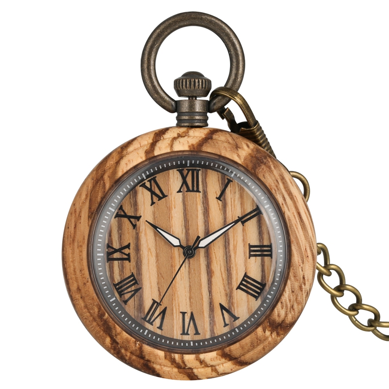 Retro Zebra Wood Quartz Pocket Watch Roman Numbers Dial Luminous Needle Wooden Watch Clock FOB Chain Jewelry Gifts For Men Women