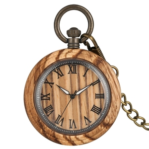 Image 1 - レトロゼブラウッド懐中時計ローマ数字ダイヤル発光針木製腕時計時計 fob チェーンための男性女性