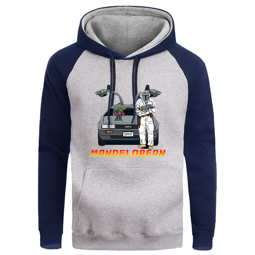 The Mandalorian Men Raglan Hoodies Star Wars Baby Yoda Mens Pullover Hoodie Sweatshirt Winter Fleece Hoody Crewneck Sweatshirts