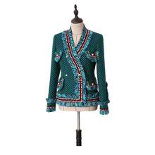 Модный дизайнерский шерстяной Блейзер, пальто для женщин, длинный рукав, жемчуг, пуговица, кисточка, твидовая куртка, пальто, высокое качество, элегантные костюмы