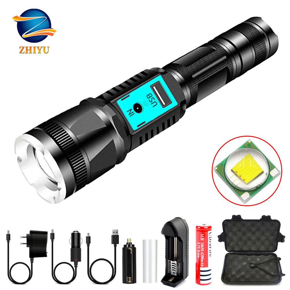 ZHIYU Usb Rechargeable Led Flashlight 18650 Battery High / Middle / Low / Strobe / SOS 5 Modes Outdoor Sports Torch Fishing Lamp