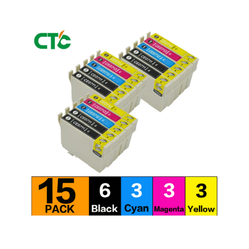15 piezas 89/71 T0711-T0714 T0715 compatible cartucho de inyección de tinta para Stylus SX215/SX218/SX400/SX405/SX405WiFi/SX410
