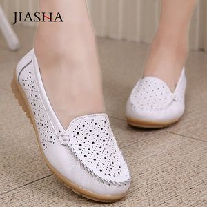 Image 1 - 2020 spring women leather shoes woman loafers cutout ballet women flats shoes female flat nursing slip On loafers women shoes