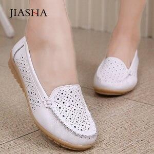 Image 1 - Mocassins en cuir pour femmes, chaussures plates découpées, soins infirmiers, collection 2020, printemps chaussures plates