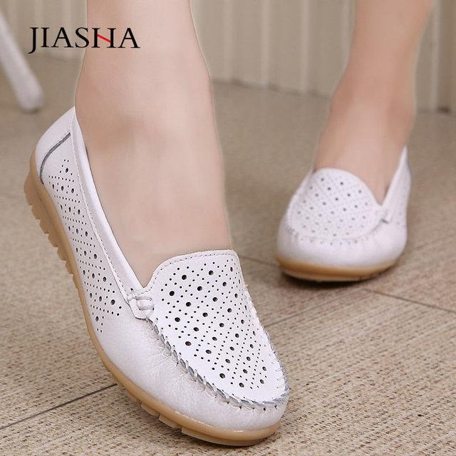 Mocassins en cuir pour femmes, chaussures plates découpées, soins infirmiers, collection 2020, printemps chaussures plates