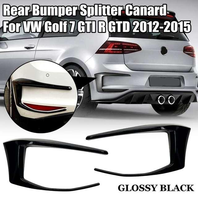 Paar Auto Achterbumper Splitter Canard Voor Vw Golf 7 MK7 Gti R Gtd 2012 2013 2014 2015 Niet Voor golf 7.5 Mk 7.5 Fog Lamp Light Trim