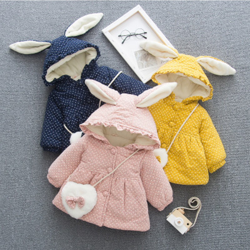 Baby Girls Sweet Lovely Winter Clothing Children Rabbit Ear Styles All Cotton Coat Kids Wave Point Hooded Thicken Warm Overcoats
