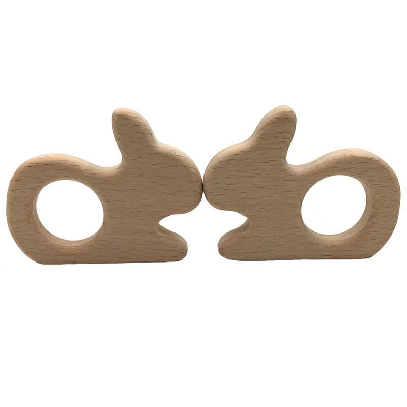 DIY Cartoon Animals Moon Rabbit Shape Baby Wooden Teether Food Grade Beech Pacifier Chain 3C Certification Wood Baby Teether Toy