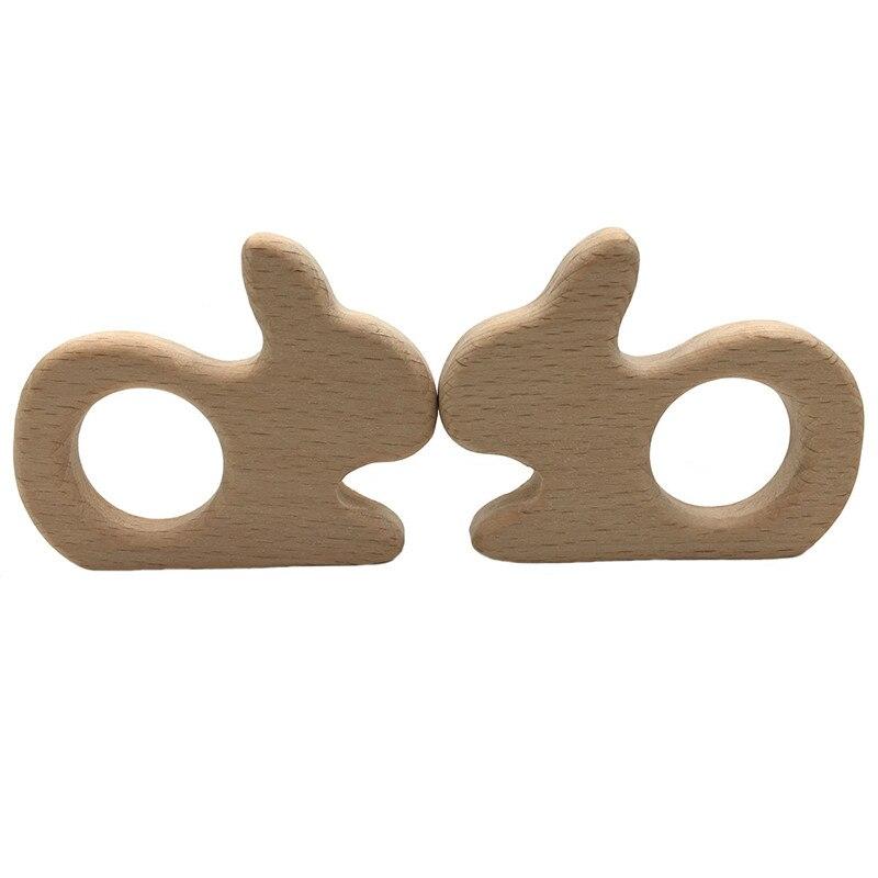 DIY Cartoon Animals Moon Rabbit Shape Baby Wooden Teether Food Grade Beech Pacifier Chain 3C Certification Wood Baby Teether Toy