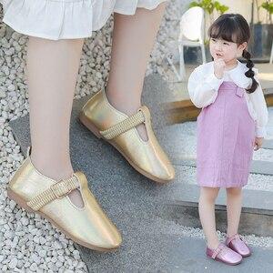 Image 1 - Bé Gái 2020 Mới Thời Trang Trẻ Em Mùa Xuân Rộng Laser Khóa Da Giày Công Chúa Bé Giày Dép Bé Gái Giày
