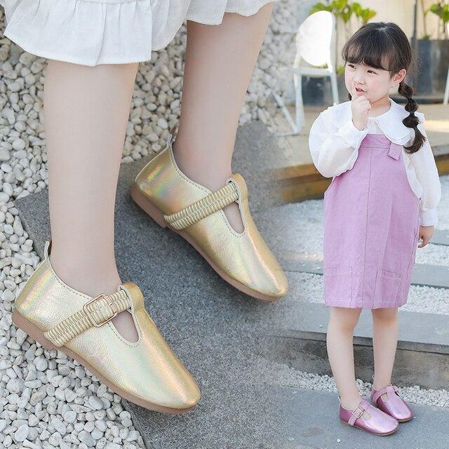 Bé Gái 2020 Mới Thời Trang Trẻ Em Mùa Xuân Rộng Laser Khóa Da Giày Công Chúa Bé Giày Dép Bé Gái Giày