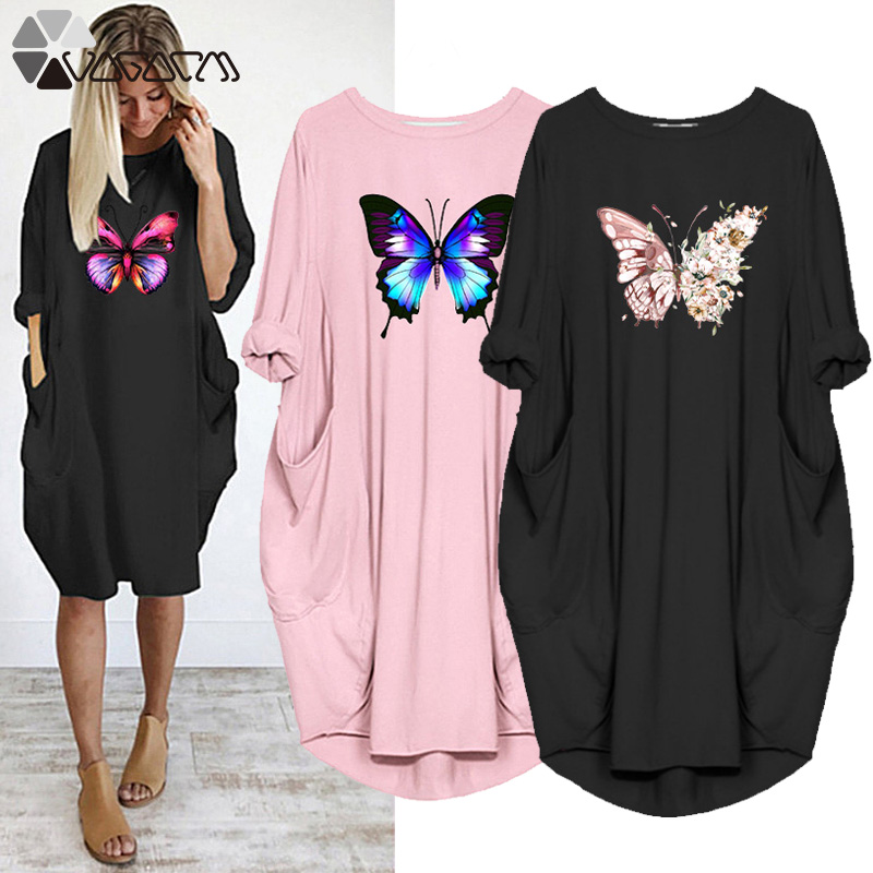 Размера плюс свободное платье для женщин с принтом в виде бабочек с карманами, свитер с длинными рукавами и круглым вырезом, топ с длинными р...
