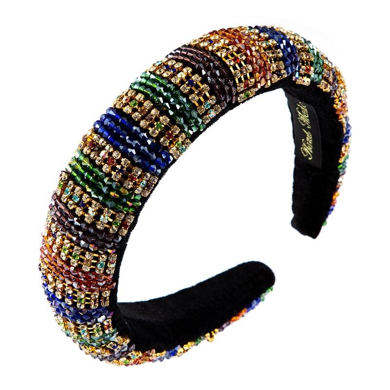 Za Full Multi Color Crystal Thick Sponge Headband for Woman Luxury Colorful Rhinestone Paded Hair Hoop Bridal Wedding Headpieces