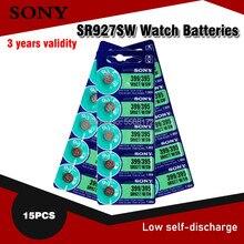 Baterias originais da sony para relógio, célula de bateria 395 sr927sw 399 sr927w ag7 lr927 1.55v, baterias de relógio tipo moeda, 15 peças no japão,