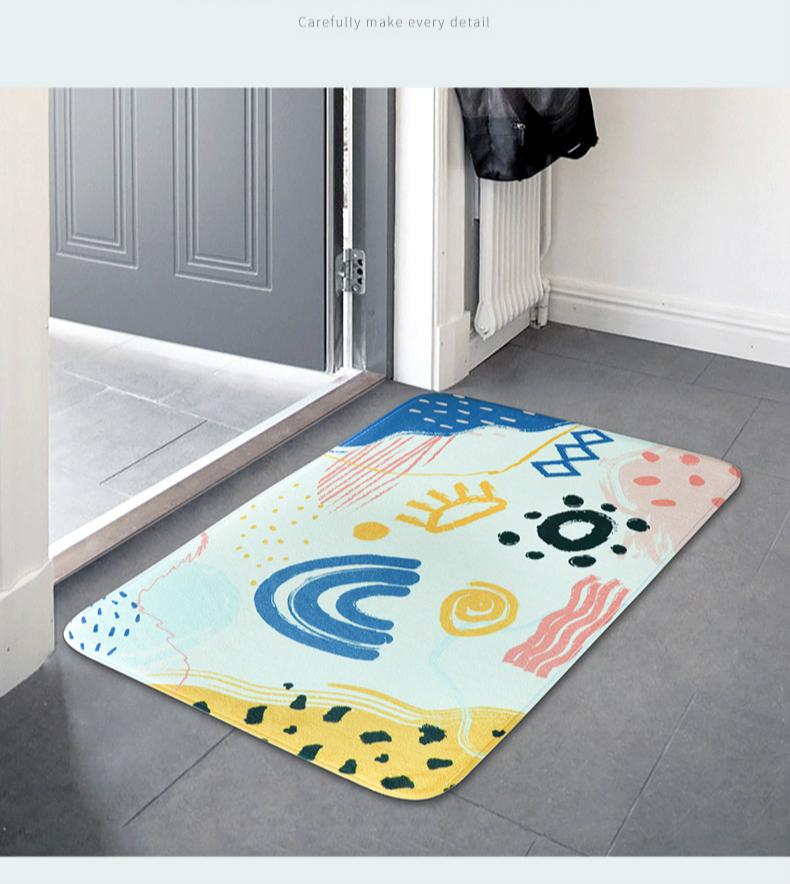 Коврик для спальни кухни мультяшный двери домашний абсорбирующий