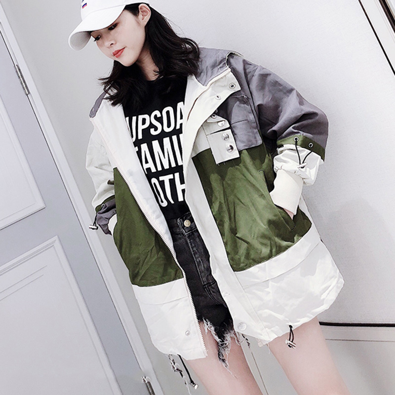 Autumn windbreaker   jacket   female Spliced Hooded Women Coat Harajuku BF Loose Bomber   Jacket   Women omen   Basic     Jackets