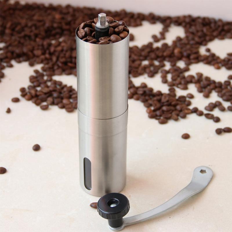 Kahve değirmeni paslanmaz çelik el manuel Mini el yapımı kahve çekirdeği değirmeni değirmeni mutfak aracı gümüş kahve değirmeni Crocus değirmeni