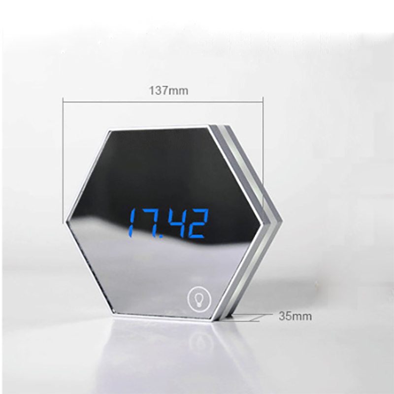 LED Mirror Alarm Clocks with Temperature Display Powered with USB Used as Night Light Useful for Home and Office 5