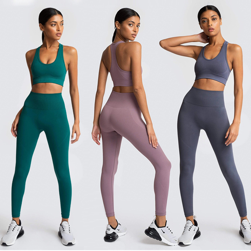 Seamless Yoga Sets 2 Pieces Gym Set Women Sports Bras Leggings Sport Set Women Sports Suit Women Workout Clothes Sportswear