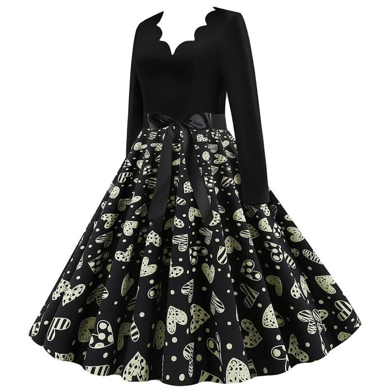 Women Long Sleeve Winter Vintage Dresses Sexy Black Music Note Print V-neck Rockabilly Pin up Party Dress Vestidos Plus size 644