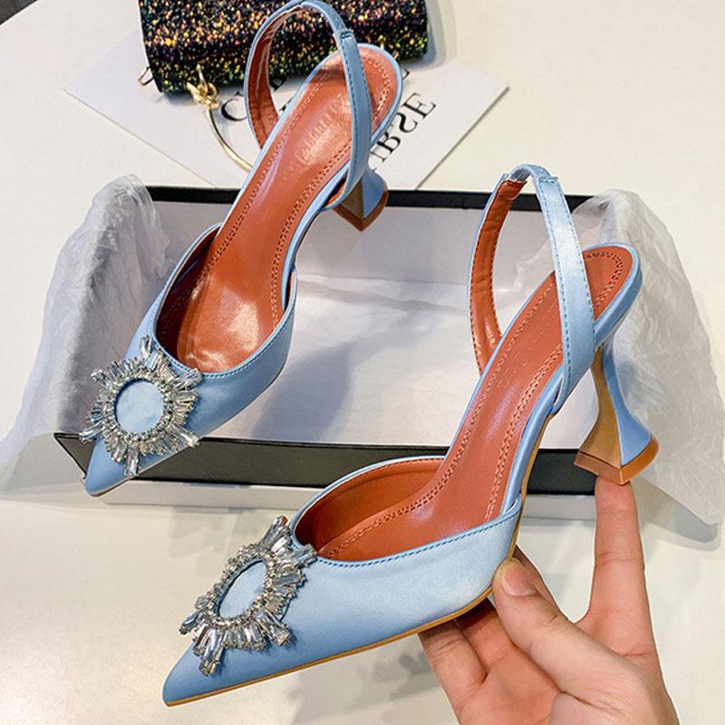Big Size 41 42 Blue Women Pumps Silk Satin Pointy Toe Rhinestone Crystal High Heels Shoes Slip On Women Wedding Pumps Sandal