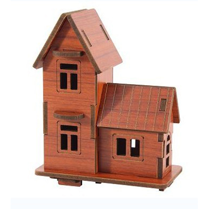 DIY 3D Mode House Toys Kits Creative House Wood Puzzles Education Toy Model Building Wooden Puzzle For Kids And Adults