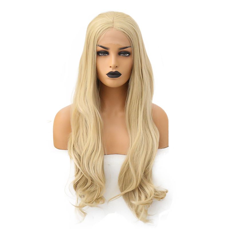 AIMEYA Wig Natural-Hairline Body-Wave Lace-Front Synthetic Blonde Women Long for Middle-Part