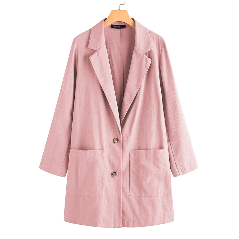 Fashion Women's Blazers 2020 ZANZEA Casual OL Coats Long Sleeve Single Button Outwears Female Solid Blazer Plus Size Cotton Tops