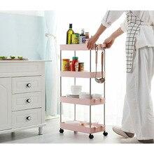 2/3/4 Layer Gap Kitchen Storage Rack Slim Slide Tower Movable Assemble Plastic Bathroom Shelf Wheels Space Saving Organizer