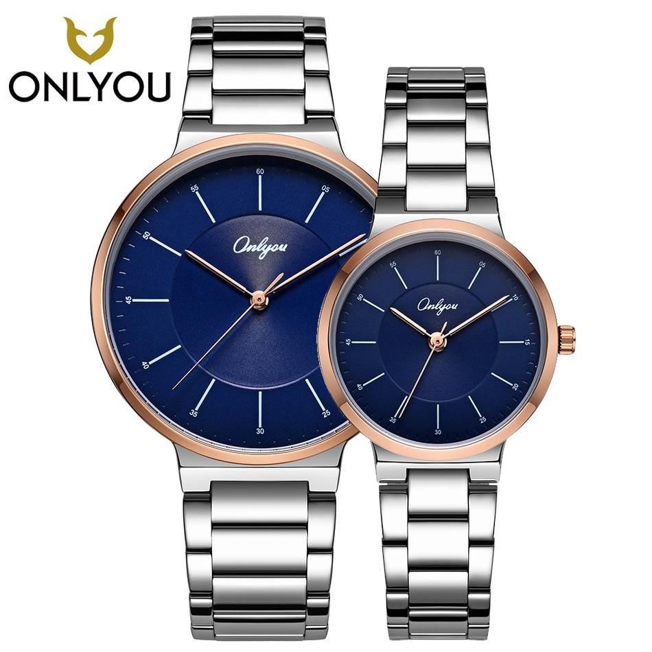 ONLYOU Couple Lover Watches Casual Fashion Stainless Steel Quartz Wristwatch  Women Elegant Clock 83031