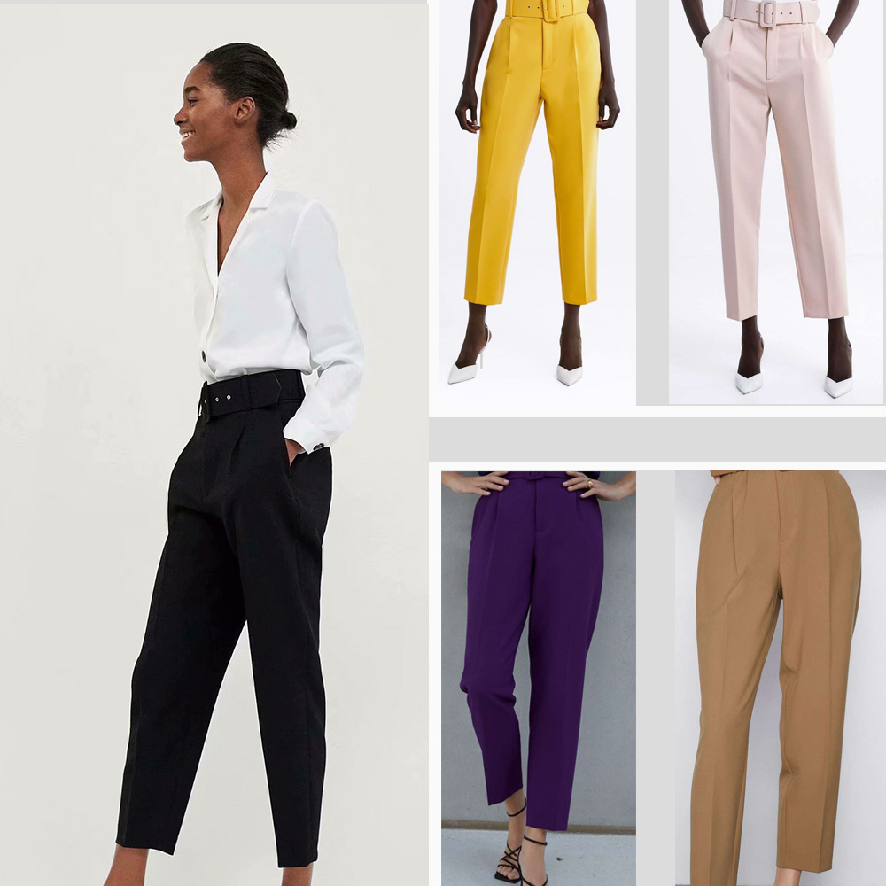 ZA Autumn Women's Wild Suit Pants High Waist With Belt Casual Pants Modified Leg Type Solid Color Black Yellow Pink Purple Camel
