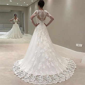 Best Selling V Neck Appliques Lace Long Sleeve A Line Court Train Cheap Bridal Dress Wedding Gown 1