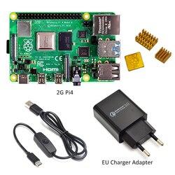 Raspberry Pi 4 Model B Kit Basic Starter Kit In Voorraad Met Schakelaar Lijn Type-C Interface Eu /Us Lader Adapter En Heatsink