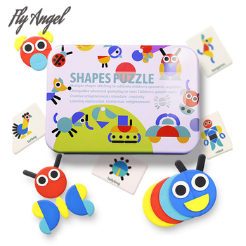 цена New Montessori Game Baby Kids Cognition Puzzles Toys Wooden Cartoon Cognition Puzzle Toys Iron Box Cards Matching Education Game онлайн в 2017 году
