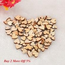 100 Uds rústico de madera de corazón de amor de madera adornos de dispersión para mesa de boda manualidades decoración DIY artesanía accesorios decoraciones de la boda