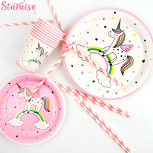 Unicorn Party Decoration Disposable Tableware Paper Plate Birthday Decorations Kids Balloons Favors