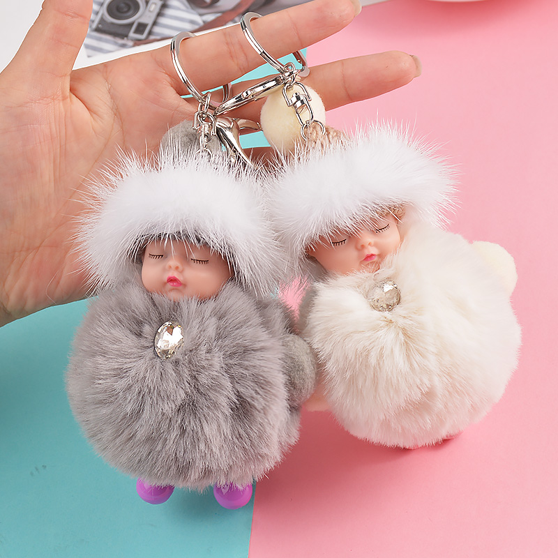New Pompom sleeping baby keychain cute fluffy Plush doll Keychains Women Girl Bag keyrings Cars Key ring Jewelry Gift porte cl