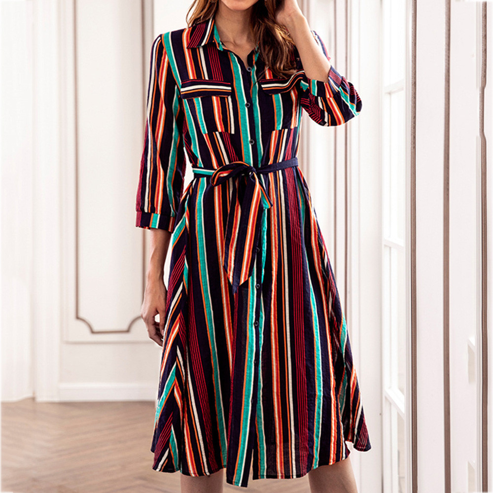 Long Sleeve Shirt Dress 2020 Summer Chiffon Boho Beach Dresses Women Casual Striped Print A-line Mini Party Dress Vestidos#WQY52