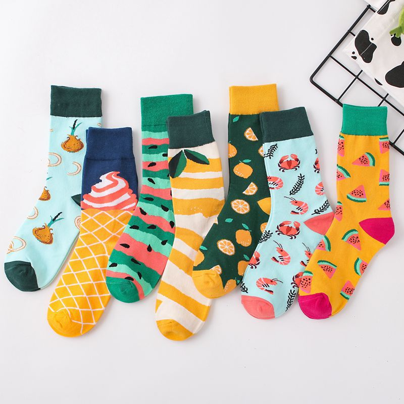 Women's Socks Japanese Cotton Colorful Cartoon Cute Funny Happy Watermelon Lemon Ice Cream Crab Shrimp Wine Glass Narcissus