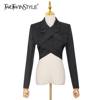 TWOTWINSTYLE Hollow Out Backless Sexy Blazer For Women V Neck Long Sleeve Black Short Tops Female Fashion New Stylish 2020 Fall twotwinstyle korean hollow out sweatshirt for women o neck long sleeve casual black sweatshirts female 2020 fall fashion new