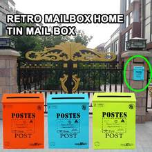 Vintage Retro Wall Mount Mailbox Mail Postal Letter Newspaper Box Waterproof Creative Iron American-style Post Box Home Decor(China)