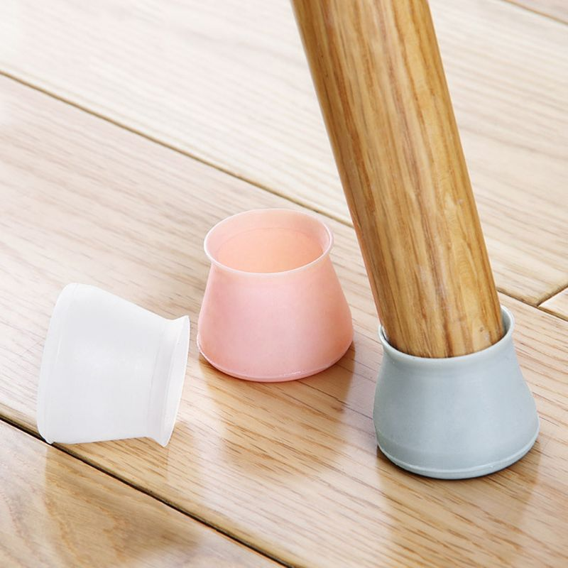 4pcs Chair Table Foot Pad Mat Cover Protector 4 X 3.2cm Furniture Floor Protection Mute Non Slip Universal Silicone Home Bar Use
